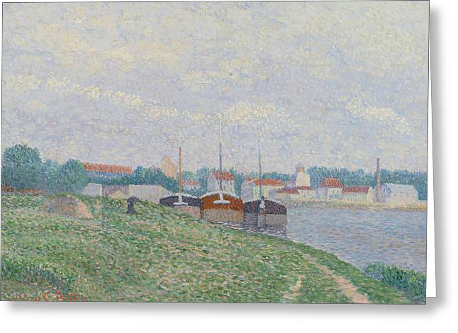 Three Barges Moored On The Edge Of An Industrial City Greeting Card by Albert Dubois-Pillet