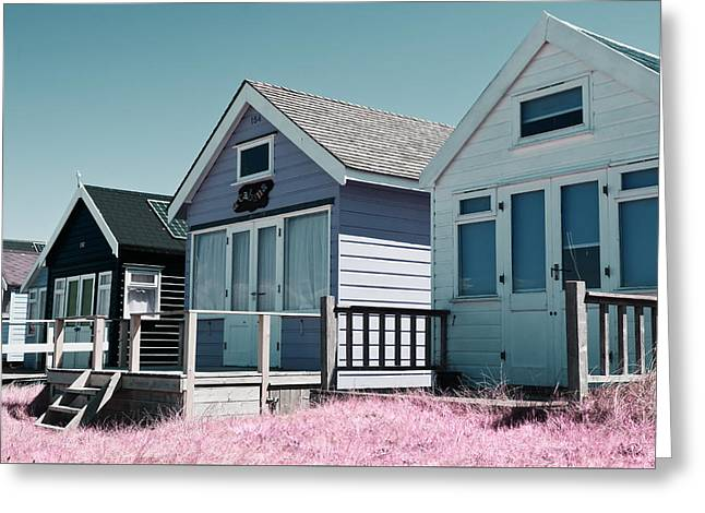 Three Beach Huts Blue Greeting Card