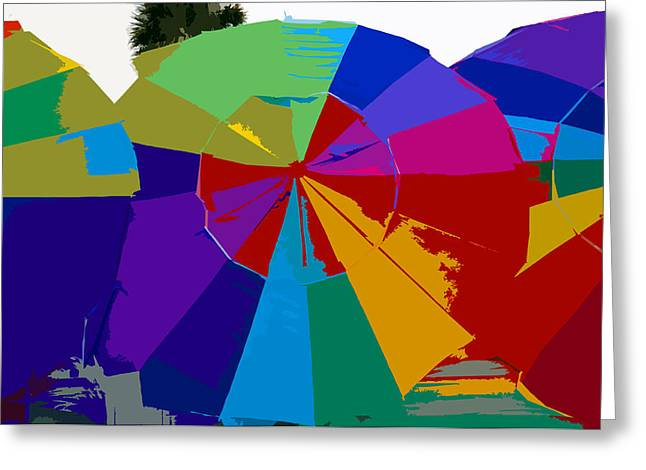 Three Beach Umbrellas Greeting Card by David Lee Thompson