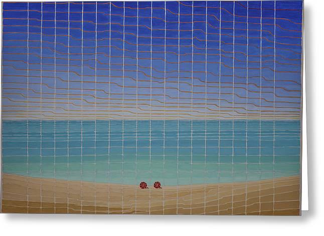Three Beach Umbrellas Greeting Card