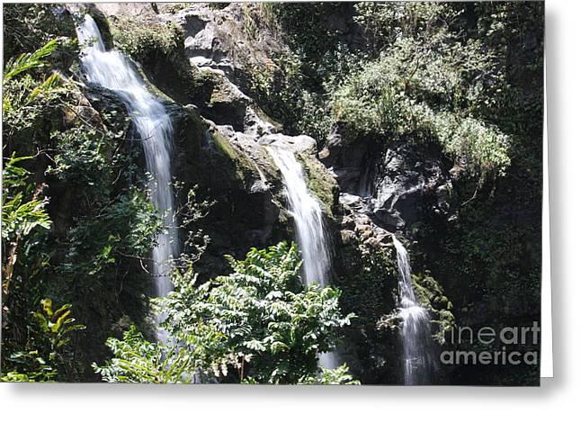Greeting Card featuring the photograph Upper Waikani Falls by Wilko Van de Kamp