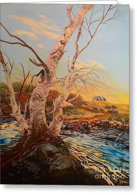 Three Birches Greeting Card by Gail Allen