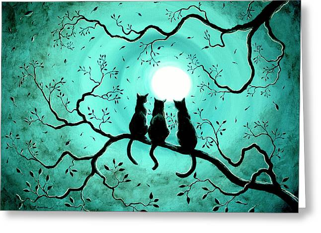 Three Black Cats Under A Full Moon Greeting Card by Laura Iverson