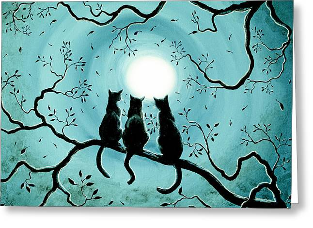 Three Black Cats Under A Full Moon Silhouette Greeting Card by Laura Iverson
