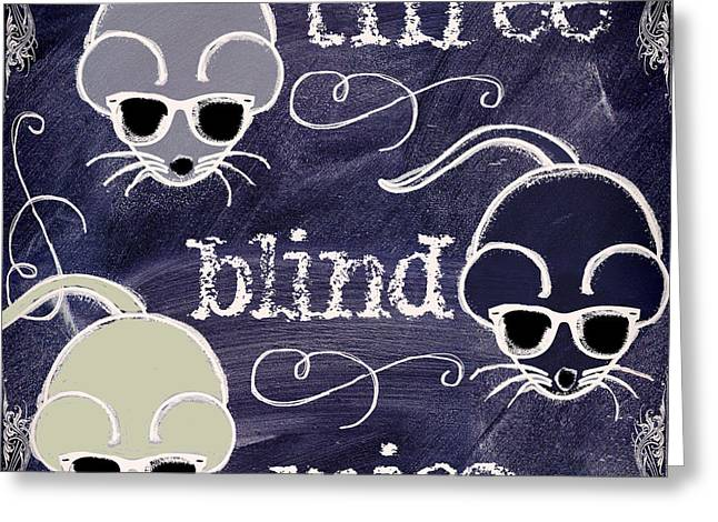 Three Blind Mice Children Chalk Art Greeting Card by Mindy Sommers