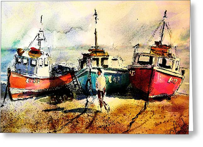 Three Boats Greeting Card by Steven Ponsford