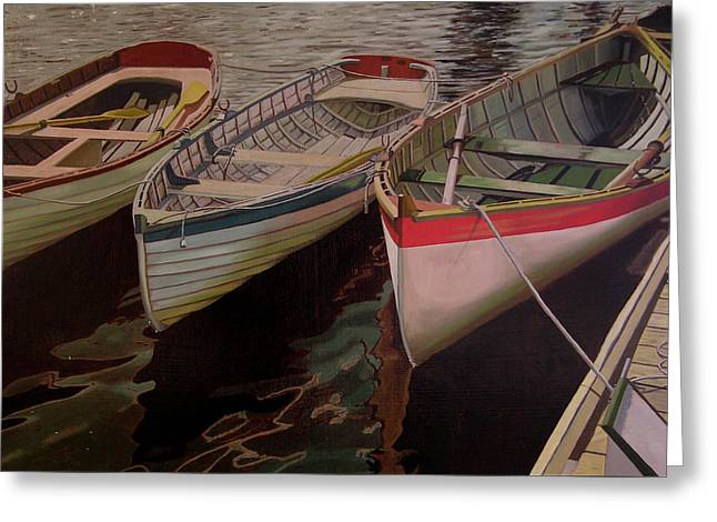 Greeting Card featuring the painting Three Boats by Thu Nguyen