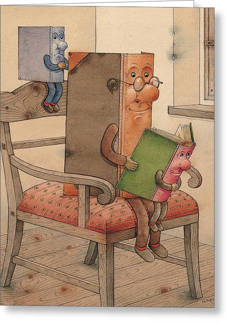Three Books Greeting Card by Kestutis Kasparavicius
