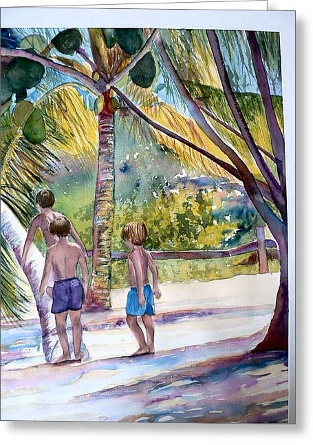 Three Boys Climbing Greeting Card