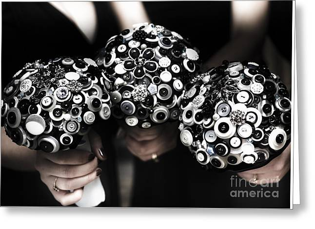 Three Bridesmaids Holding Vintage Button Bouquets Greeting Card by Jorgo Photography - Wall Art Gallery
