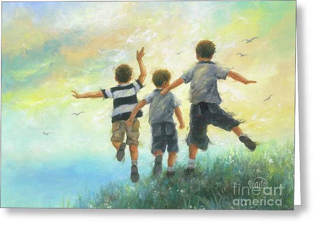 Three Brothers Leaping Greeting Card by Vickie Wade