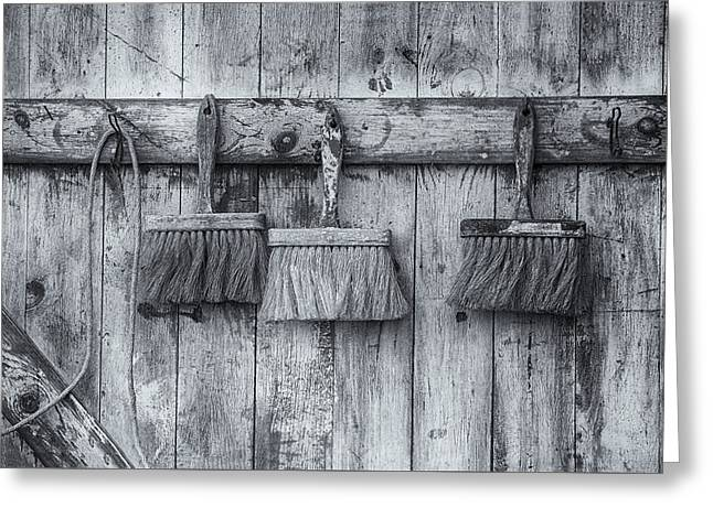 Three Brushes Black And White Greeting Card by Tom Singleton