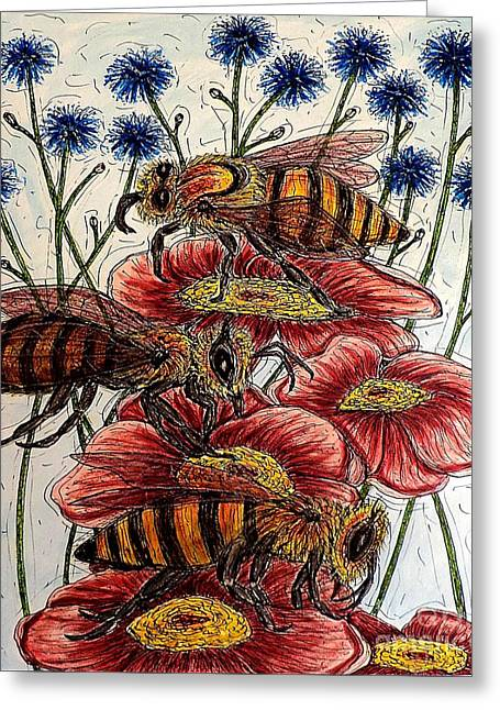 Three Busy Bees Greeting Card
