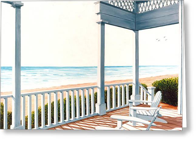 Adirondacks By The Sea - Prints From Original Oil Painting Greeting Card