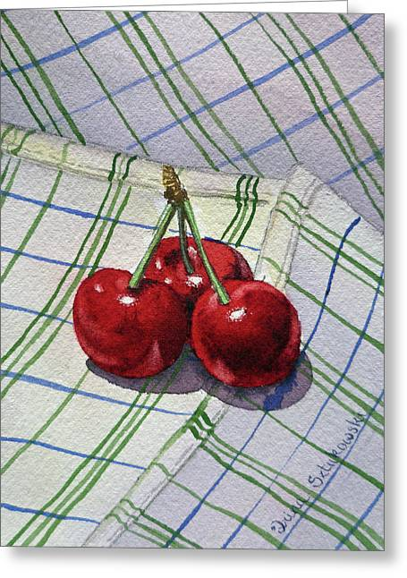 Three Sweet Cherries By Irina Sztukowski Greeting Card by Irina Sztukowski