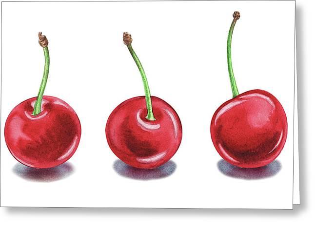 Greeting Card featuring the painting Three Cherries Watercolor Painting by Irina Sztukowski