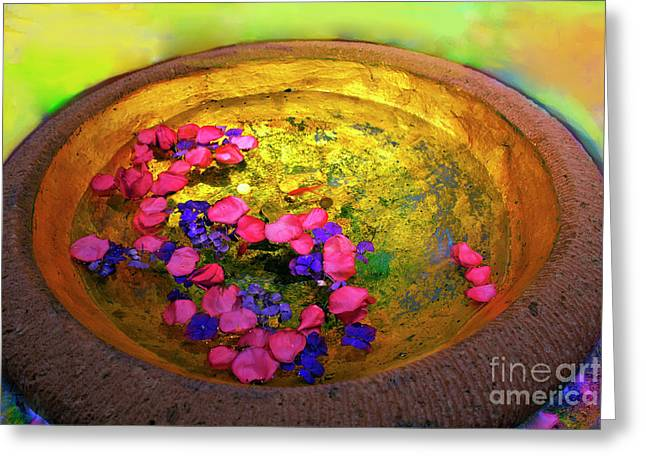 Three Coins In The Fountain With Gold Fish Greeting Card by Madeline Ellis