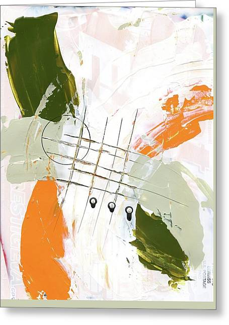 Greeting Card featuring the painting Three Color Palette Orange 3 by Michal Mitak Mahgerefteh