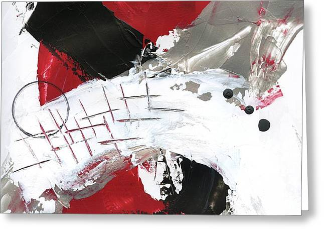 Greeting Card featuring the painting Three Color Palette Red 2 by Michal Mitak Mahgerefteh