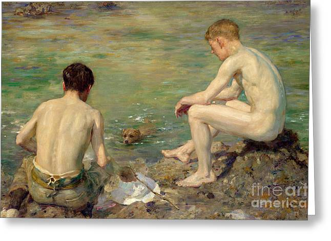 Three Companions Greeting Card by Henry Scott Tuke