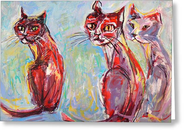 Three Cool Cats Greeting Card by Mary Schiros
