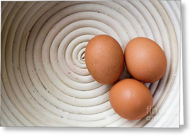 Three Country Eggs In A White Bowl Greeting Card by Edward Fielding