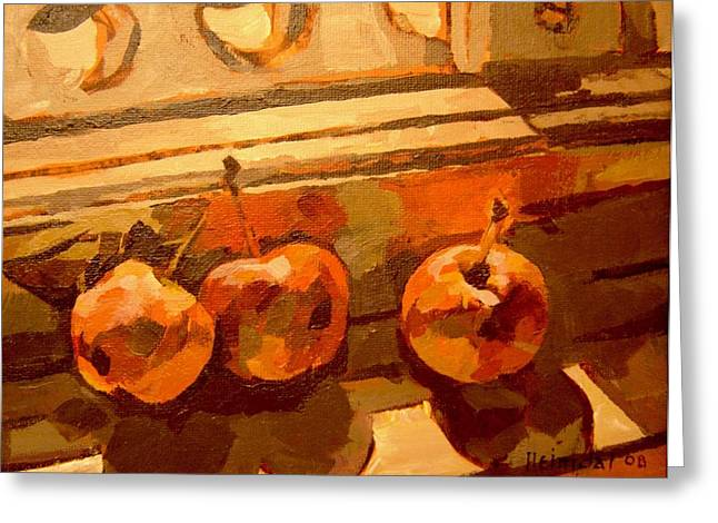 Greeting Card featuring the painting Three Crabapples On A Window Sill by Tim  Heimdal