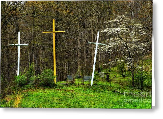Three Crosses And Dogwood In Bloom Greeting Card by Thomas R Fletcher