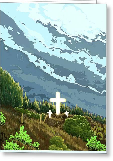 Three Crosses On A Hill Greeting Card by Janice Sobien