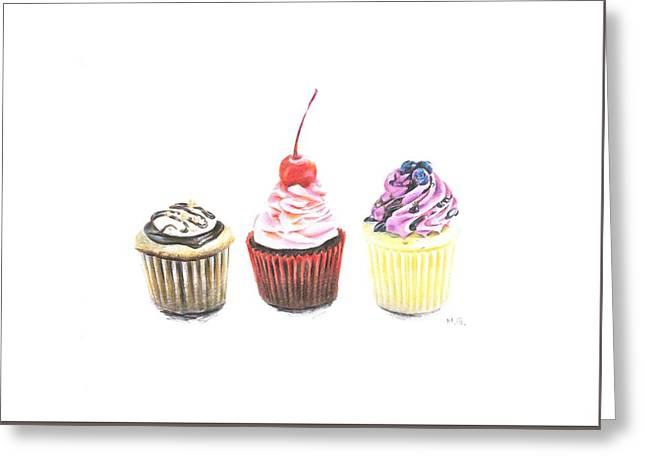 Three Cupcakes Greeting Card