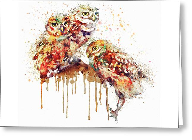 Three Cute Owls Watercolor Greeting Card by Marian Voicu