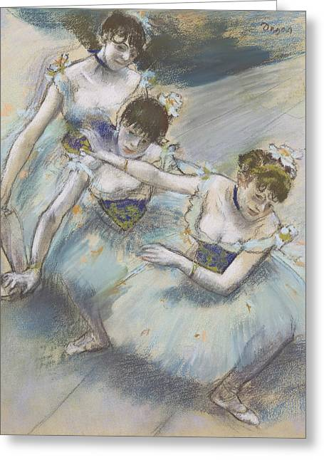 Three Dancers In A Diagonal Line On The Stage Greeting Card by Edgar Degas