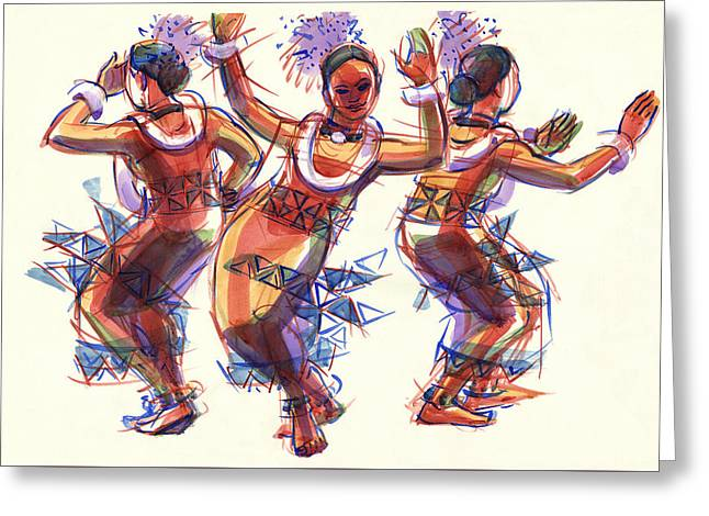 Greeting Card featuring the painting Three Dancers Of Tongatapu by Judith Kunzle