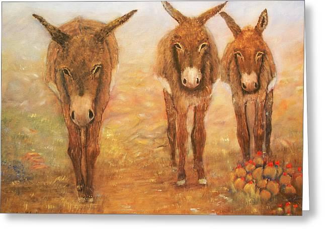 Three Donkeys Greeting Card by Loretta Luglio