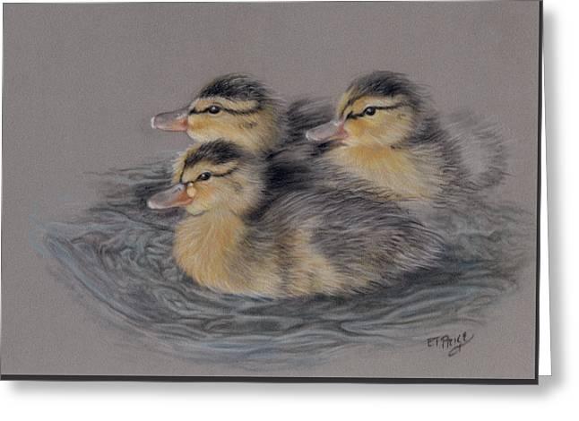 Three Ducklings Greeting Card by Edmund Price