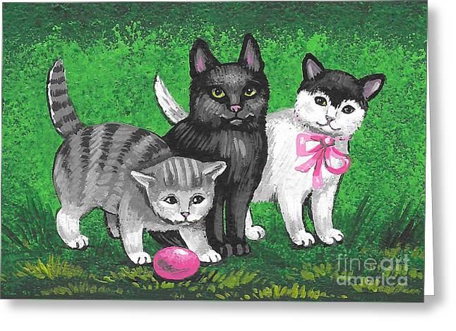Three Easter Kitens Greeting Card by Margaryta Yermolayeva