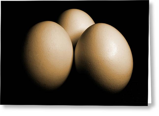 Three Eggs On Black Sepia Toned Greeting Card
