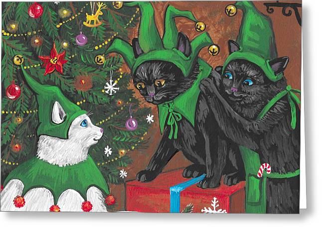 Three Elves Greeting Card by Margaryta Yermolayeva