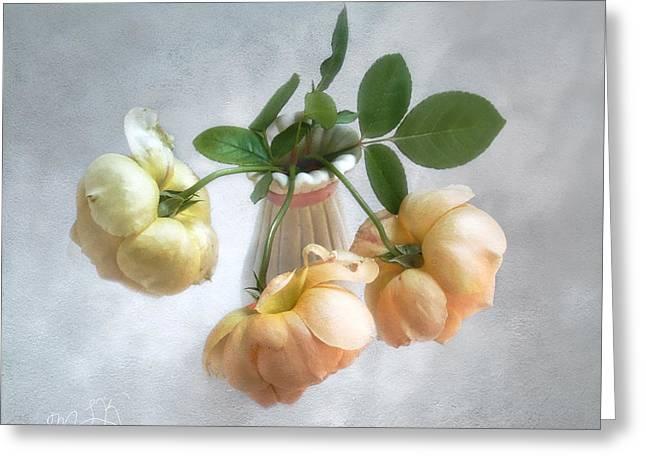 Three English Roses Greeting Card by Louise Kumpf