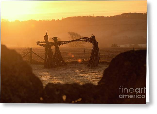 Three Fairies Dancing At The Rollright Stones At Sunrise Greeting Card