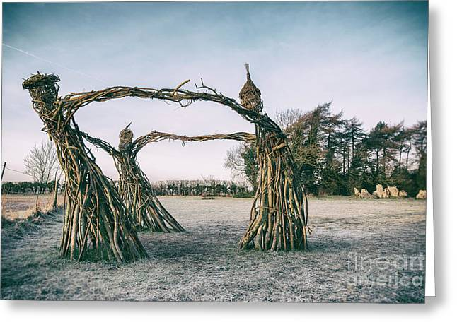 Three Fairies Dancing At The Rollright Stones Greeting Card