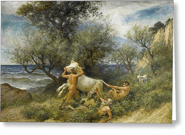 Three Faun With Cow And Calf Greeting Card