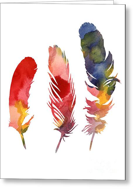 Three Feather Watercolor Poster Greeting Card