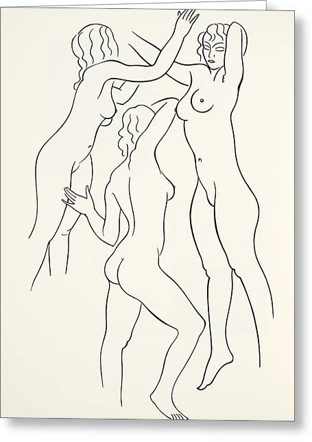Three Female Nudes Greeting Card by Eric Gill