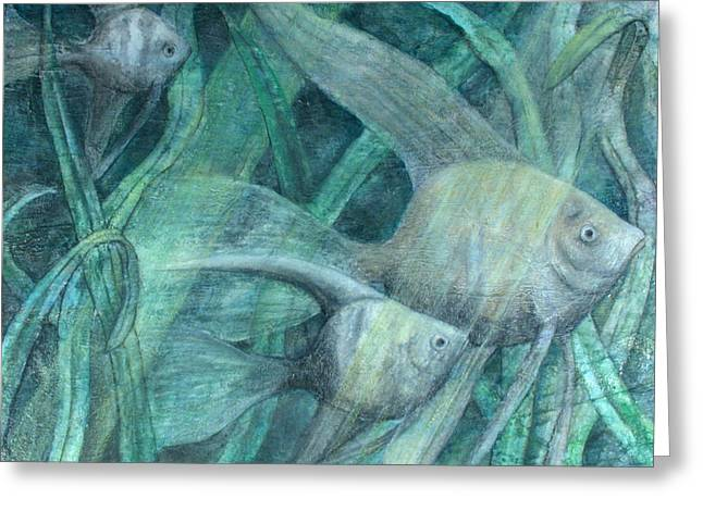 Three Fish Greeting Card by Sandy Clift