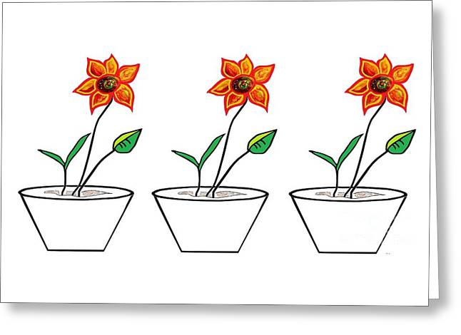 Three Flowers In A Row Greeting Card