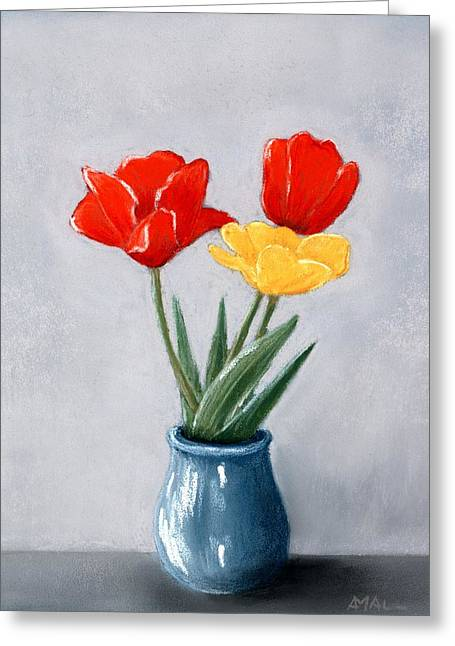Three Flowers In A Vase Greeting Card
