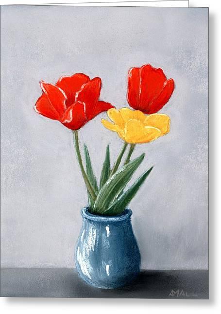 Three Flowers In A Vase Greeting Card by Anastasiya Malakhova