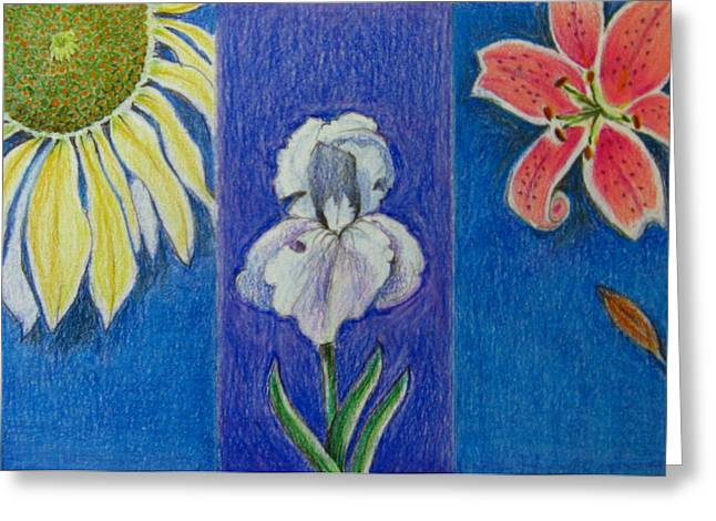 Greeting Card featuring the drawing Three Flowers by Patricia Januszkiewicz
