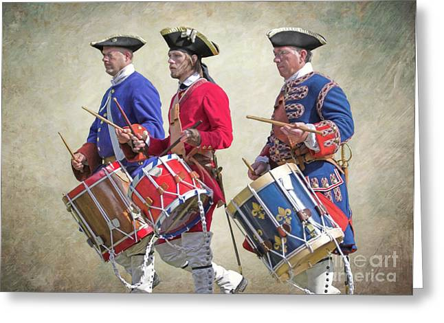 Three French Drummers Greeting Card by Randy Steele